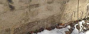 spalling concrete block wall