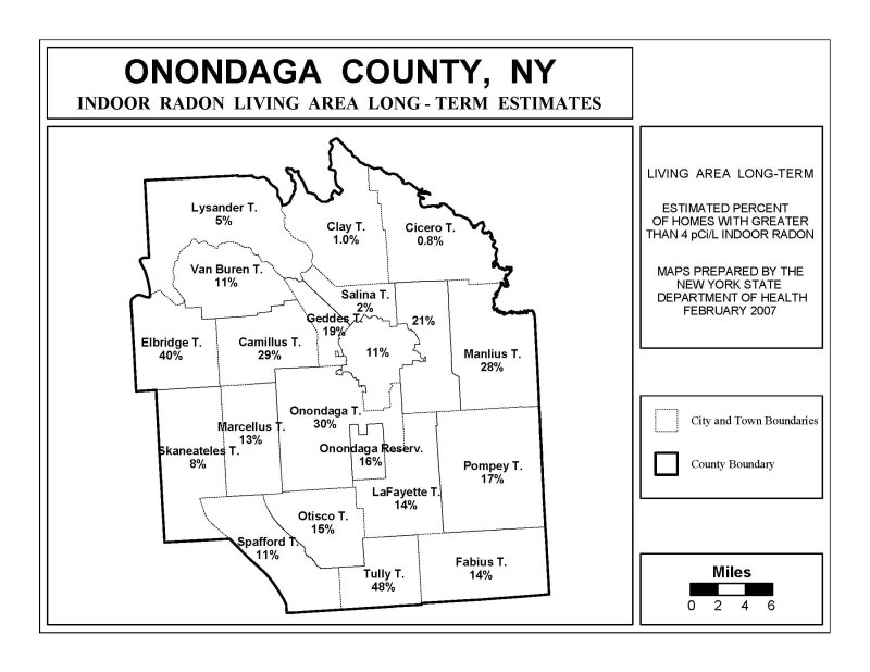 Onondaga County, NY Radon Map, percentage by town, Long Term Testing