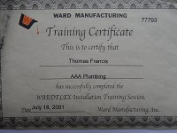 WARDFLEX Gas Line Installation Certification