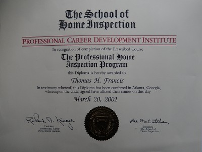 Certified Home Inspector Tom Francis / 1-315-439-1103